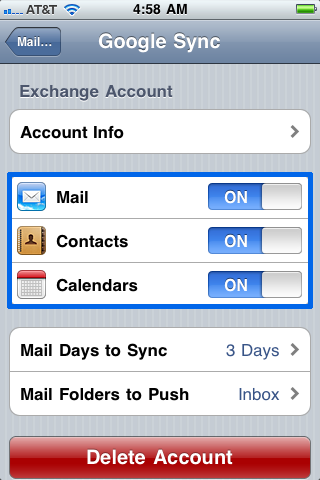 Select the Google services (Mail, Calendar, and Contacts) you want to sync.