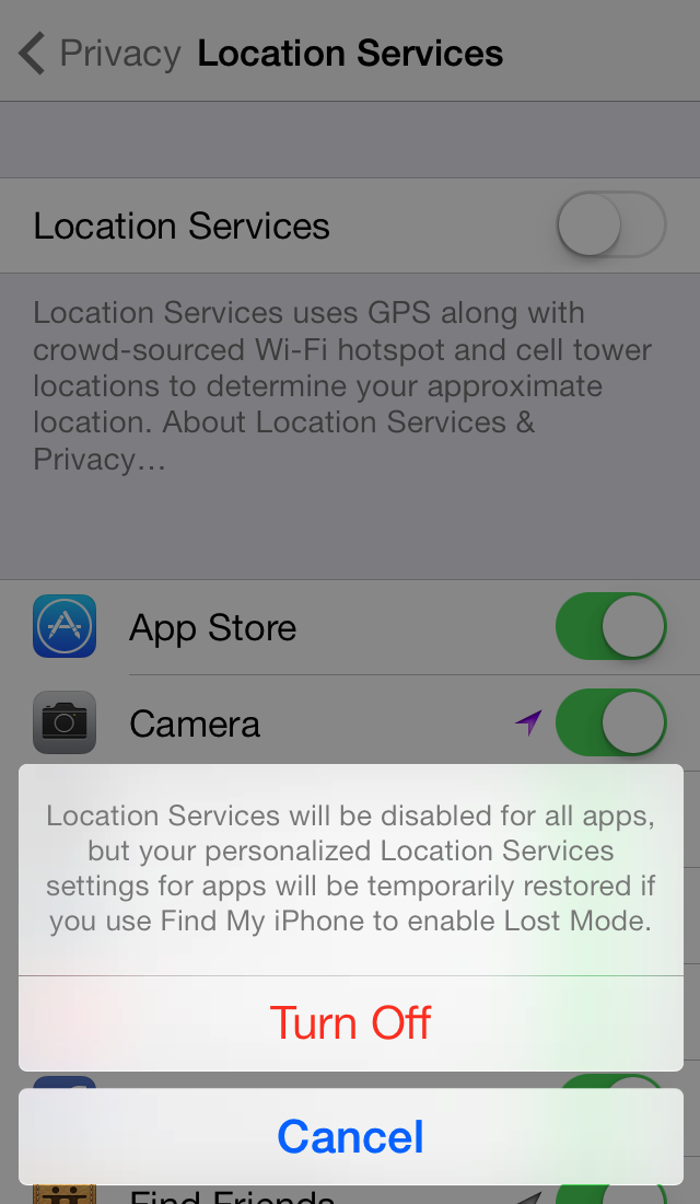 Nervous Nelly's turn off all Location Services. Instead, turn off the Favorite Locations feature. Regardless, of what features you turn off and on, the reality is: your phone is tracking you.