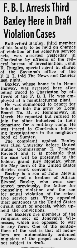 FBI Arrests Third Baxley Here in Draft Violation Cases, The Charleston News and Courier, May 22, 1943