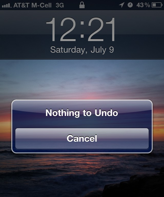 Nothing to Undo, screenshot at 12:21 July 9, 2011
