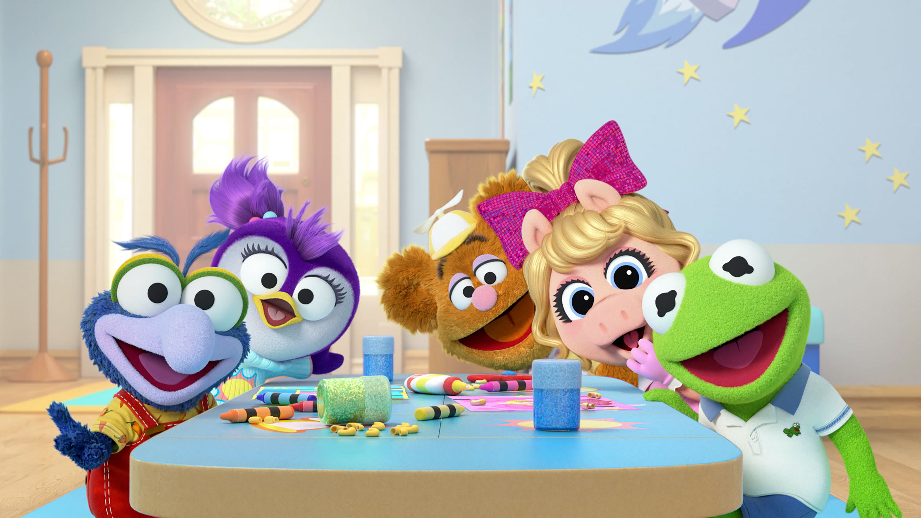 """MUPPET BABIES - Disney has begun production on a reimagined """"Muppet Babies"""" television series, which chronicles the playroom antics of the beloved Kermit the Frog, Piggy, Fozzie Bear, Gonzo, Animal and Miss Nanny. A co-production between Disney Junior, Disney Consumer Products and Interactive Media's (DCPI) Content & Media group, and The Muppets Studio, the CG-animated series is slated to debut on Disney Junior in early 2018. (Disney Junior) BABY GONZO, BABY SUMMER, BABY FOZZIE, BABY PIGGY, BABY KERMIT"""